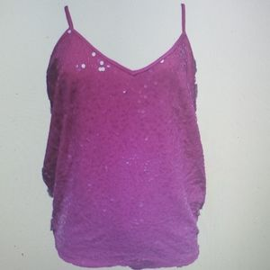 INC sequin Blouse Tank Top New pink Lilac Rose